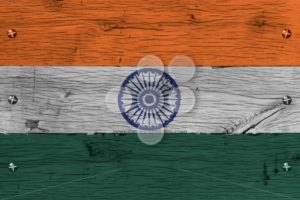 India national flag painted old oak wood fastened - Popular Stock Photos