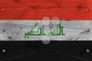 Iraq national flag painted old oak wood fastened - Popular Stock Photos
