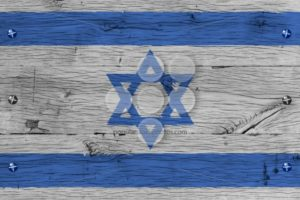 Israel national flag painted old oak wood fastened - Popular Stock Photos