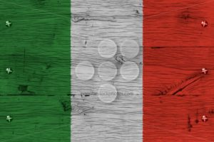 Italy national flag painted old oak wood fastened - Popular Stock Photos