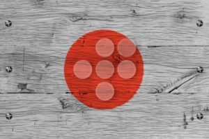 Japan national flag painted old oak wood fastened - Popular Stock Photos