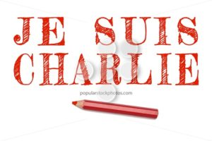 Je suis charlie lined written red pencil - Popular Stock Photos