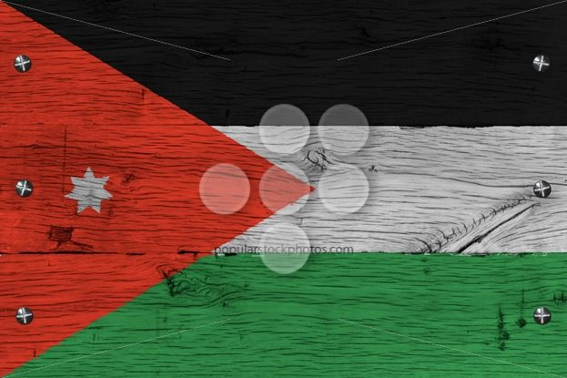 Jordan national flag painted old oak wood fastened – Popular Stock Photos