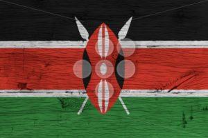 Kenya national flag painted old oak wood - Popular Stock Photos