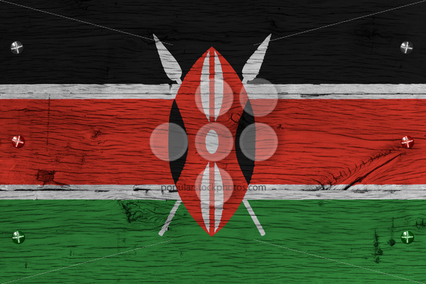 Kenya national flag painted old oak wood fastened - Popular Stock Photos