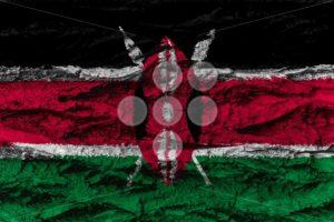 Kenya national flag painted wooden bark tree - Popular Stock Photos