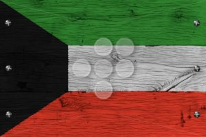 Kuwait national flag painted old oak wood fastened - Popular Stock Photos