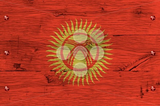 Kyrgyzstan national flag painted old oak wood fastened – Popular Stock Photos