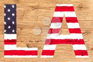LA painted with pattern of flag United States old oak wood - Popular Stock Photos
