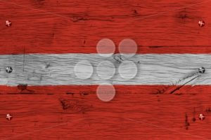 Latvia national flag painted old oak wood fastened - Popular Stock Photos