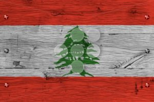 Lebanon national flag painted old oak wood fastened - Popular Stock Photos