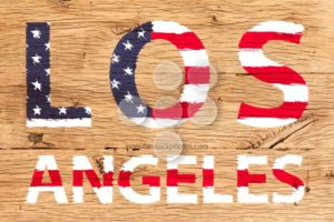Los Angeles painted with pattern of flag United States old oak wood - Popular Stock Photos