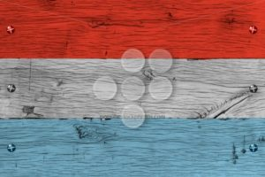 Luxembourg national flag painted old oak wood fastened - Popular Stock Photos