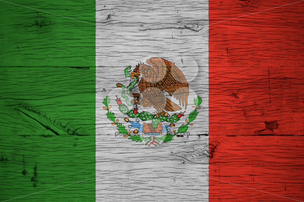 Mexico national flag painted old oak wood - Popular Stock Photos
