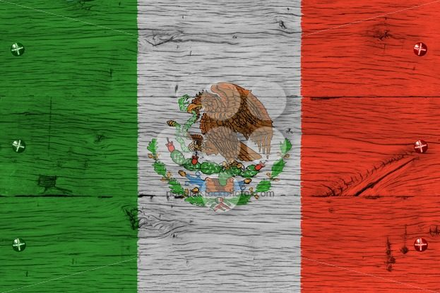 Mexico national flag painted old oak wood fastened – Popular Stock Photos