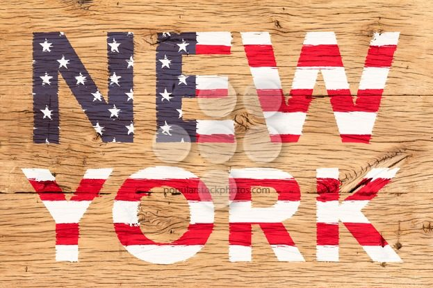 New York painted with pattern of flag United States old oak wood – Popular Stock Photos