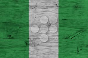 Nigeria national flag painted old oak wood - Popular Stock Photos