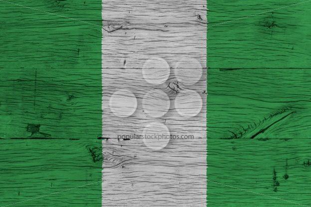 Nigeria national flag painted old oak wood – Popular Stock Photos
