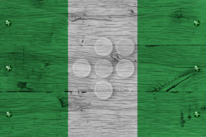 Nigeria national flag painted old oak wood fastened - Popular Stock Photos