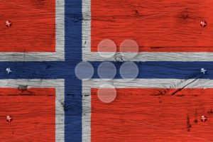 Norway national flag painted old oak wood fastened - Popular Stock Photos