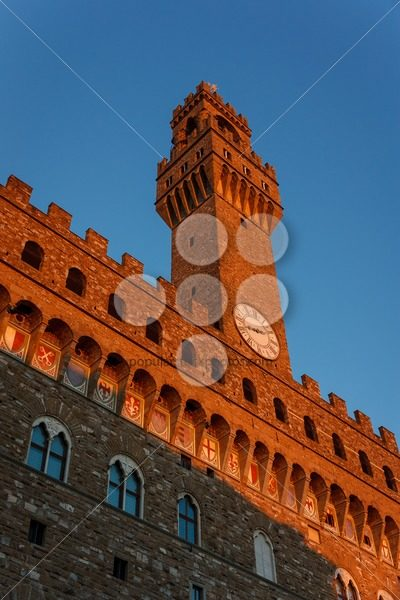 Palazzo Vecchio tower in the evening sun Florence – Popular Stock Photos