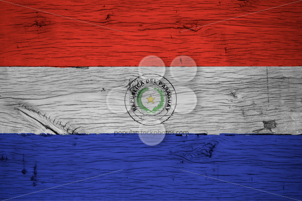 Paraguay national flag painted old oak wood - Popular Stock Photos