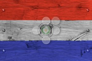 Paraguay national flag painted old oak wood fastened - Popular Stock Photos