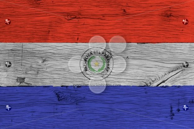 Paraguay national flag painted old oak wood fastened – Popular Stock Photos