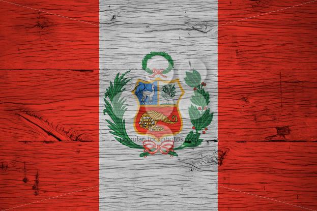 Peru national flag painted old oak wood - Popular Stock Photos