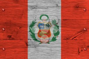 Peru national flag painted old oak wood fastened - Popular Stock Photos