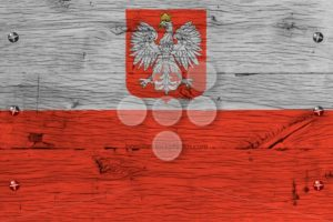 Poland national flag painted old oak wood fastened - Popular Stock Photos