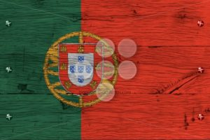 Portugal national flag painted old oak wood fastened - Popular Stock Photos