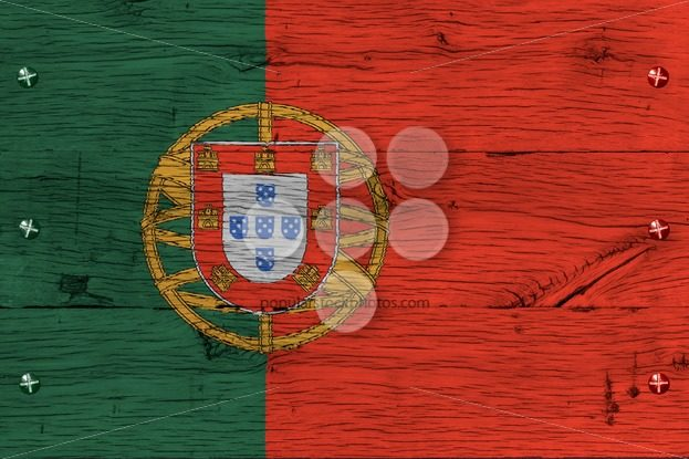 Portugal national flag painted old oak wood fastened – Popular Stock Photos