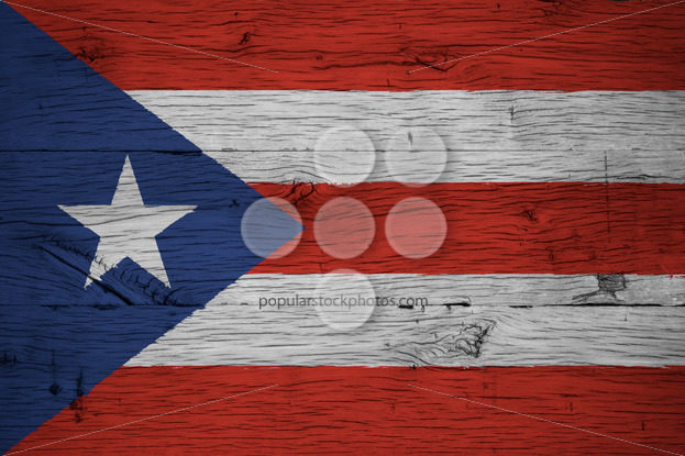 Puerto Rico national flag painted old oak wood - Popular Stock Photos