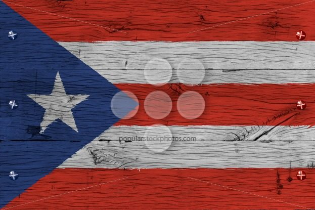 Puerto Rico national flag painted old oak wood fastened – Popular Stock Photos