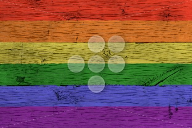 Rainbow or gay flag painted old oak wood – Popular Stock Photos