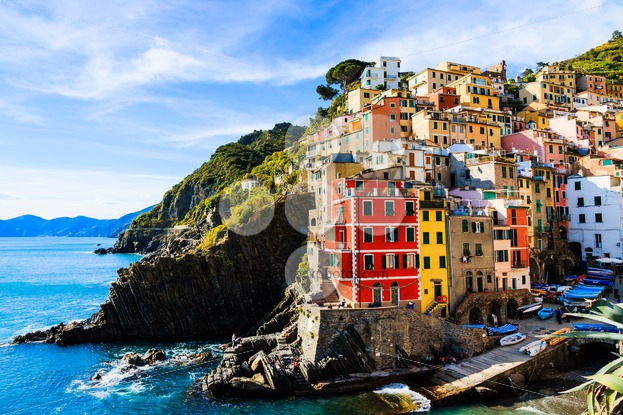 Riomaggiore village cinque terre Italy - Popular Stock Photos