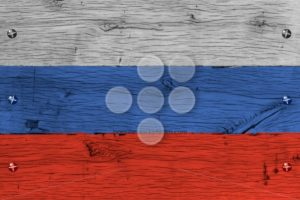 Russia national flag painted old oak wood fastened - Popular Stock Photos