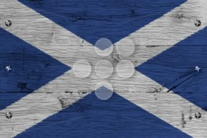 Scotland national flag painted old oak wood fastened - Popular Stock Photos