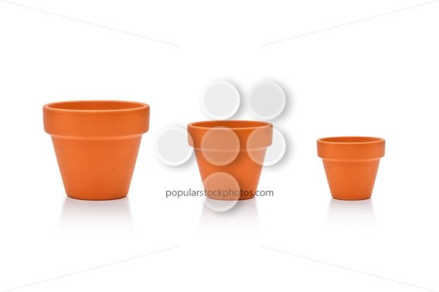 Set different site flower pots isolated on white - Popular Stock Photos