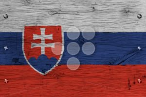 Slovakia national flag painted old oak wood fastened - Popular Stock Photos