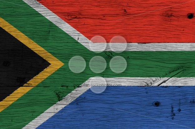 South Africa national flag painted old oak wood – Popular Stock Photos