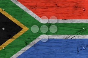 South Africa national flag painted old oak wood fastened - Popular Stock Photos