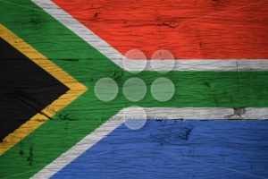 South Africa national flag painted on old oak wood - Popular Stock Photos
