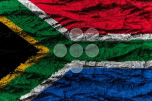South Africa national flag painted wooden bark tree - Popular Stock Photos