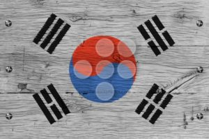 South Korea national flag painted old oak wood fastened - Popular Stock Photos