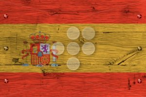 Spain national flag painted old oak wood fastened - Popular Stock Photos