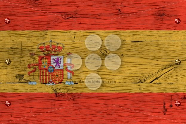 Spain national flag painted old oak wood fastened – Popular Stock Photos
