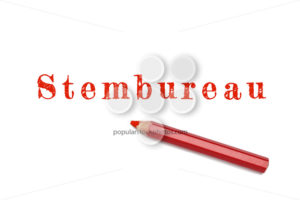 Stembureau text sketch red pencil - Popular Stock Photos