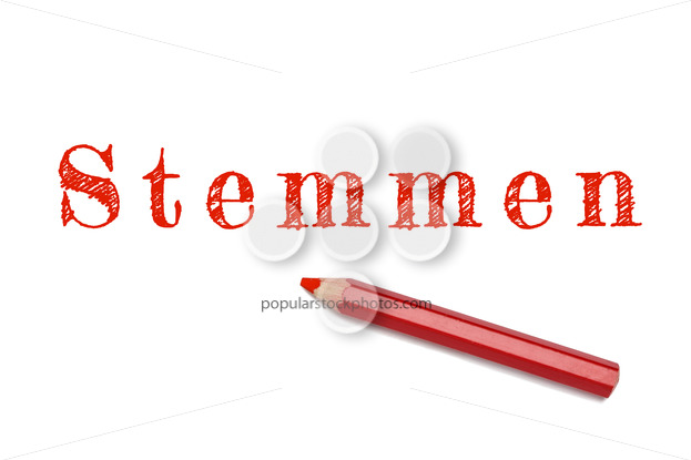 Stemmen text sketch red pencil - Popular Stock Photos
